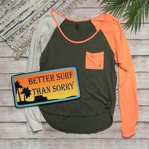 Volcom Long Sleeve Raglan Surfer Tee
